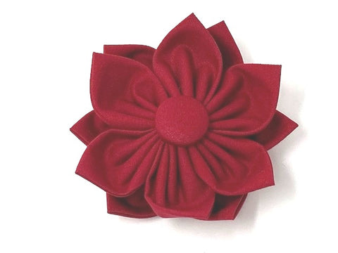 Scarlet Red, Dog Collar Flower, Red, Slide On Off, Christmas, Holiday, Festive, Valentines Day