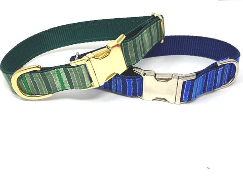 Stripe Dog Collar, For Boys, Green, Blue, Gold, Silver, Sparkle, Glitter, Fashion, Personalized, Engraved, Dog Collar Boys, Girls, Small