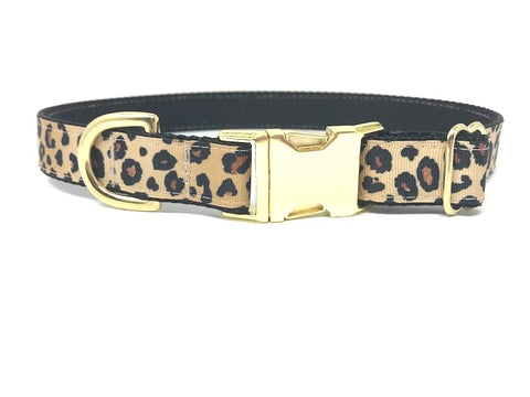 leopard print dog collar, cheetah, animal print, gold, black, girls, boys, personalized, engraved, cat, pet collar, small collar, medium collar, large collar, xl collar