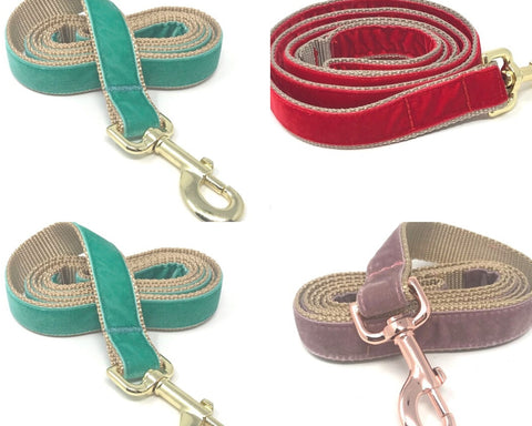 Velvet Dog Leash, Hot Pink, Maroon, Mauve, Blue, Purple, Red, Teal