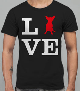 Love Chihuahua Dog Silhouette Mens T-Shirt - Black
