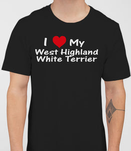 I Love My White Terrier Mens T-Shirt - Black