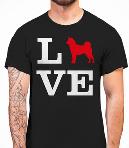 Love Shiba Inu Dog Silhouette Mens T-Shirt - Black