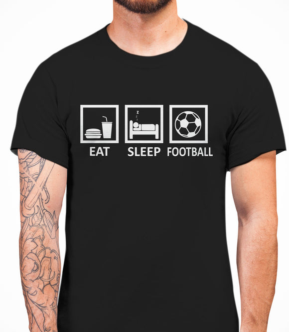 Eat Sleep Football Mens T-Shirt - Black
