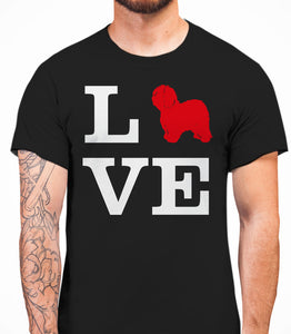 Love Old English Sheepdog Dog Silhouette Mens T-Shirt - Black