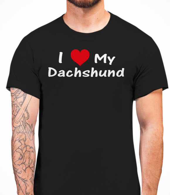I Love My Dachshund Mens T-Shirt - Black