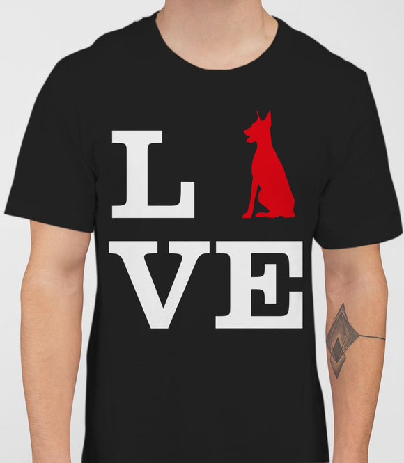 Love Doberman Dog Silhouette Mens T-Shirt - Black
