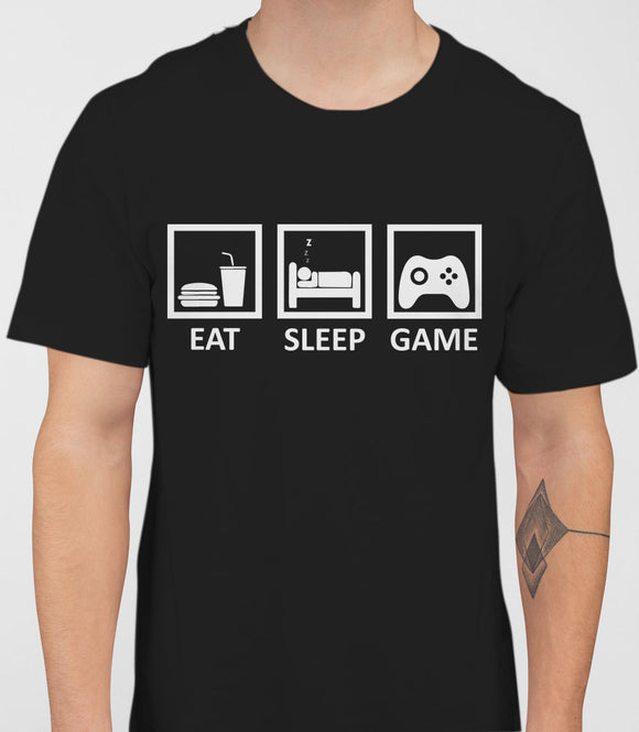 Eat Sleep Game Mens T-Shirt - Black