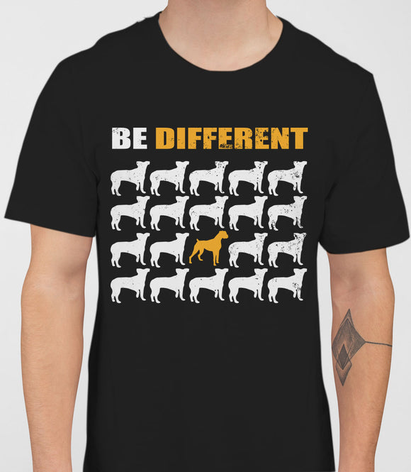 Be Different Boxer Dog  Mens T-Shirt - Black