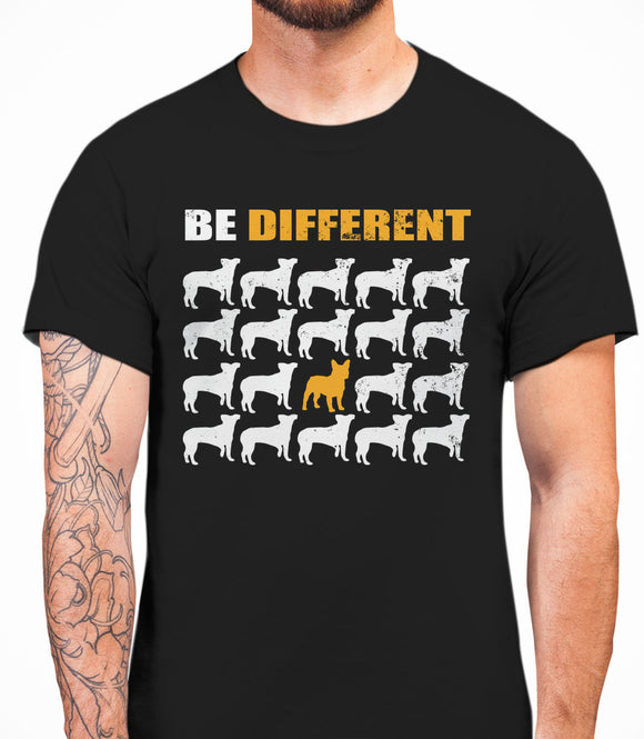 Be Different French Bulldog Dog  Mens T-Shirt - Black