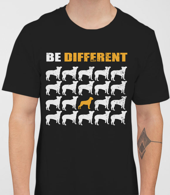 Be Different Rottweiler Dog  Mens T-Shirt - Black