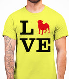 Love Pug Dog Silhouette Mens T-Shirt - Daisy