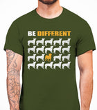 Be Different Pug Dog  Mens T-Shirt - Military Green