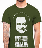 Delboy This Time Next Year We'll be MillionairesOnly Fools And Horses - Mens T-Shirt - Military Green