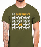 Be Different Huskie Dog  Mens T-Shirt - Olive