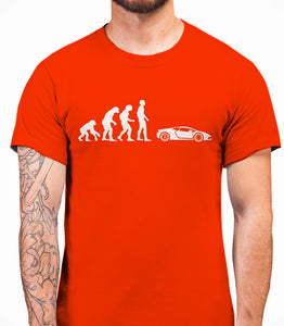 Evolution of Man Sport Car Mans T-Shirt - White