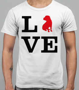 Love Shar Pei Dog Silhouette Mens T-Shirt - White