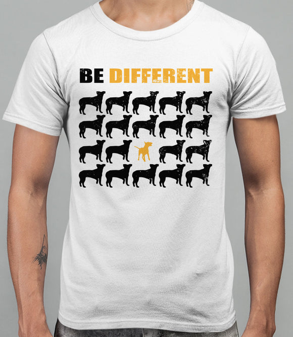 Be Different Bull Terrier Dog  Mens T-Shirt - White