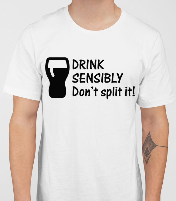 Drink Sensibly Mens T-Shirt - White