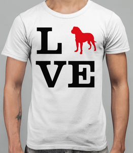 Love Dogue De Bourdeau Dog Silhouette Mens T-Shirt - White