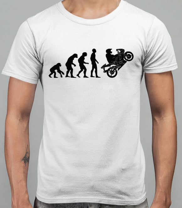 Evolution of Man Superbike Mens T-Shirt - White