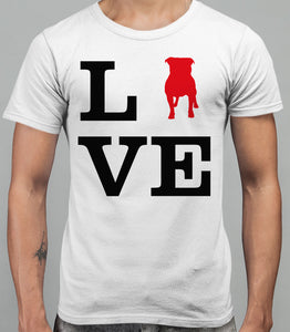 Love Staffordshire Bull Terrier Dog Mens T-Shirt - White