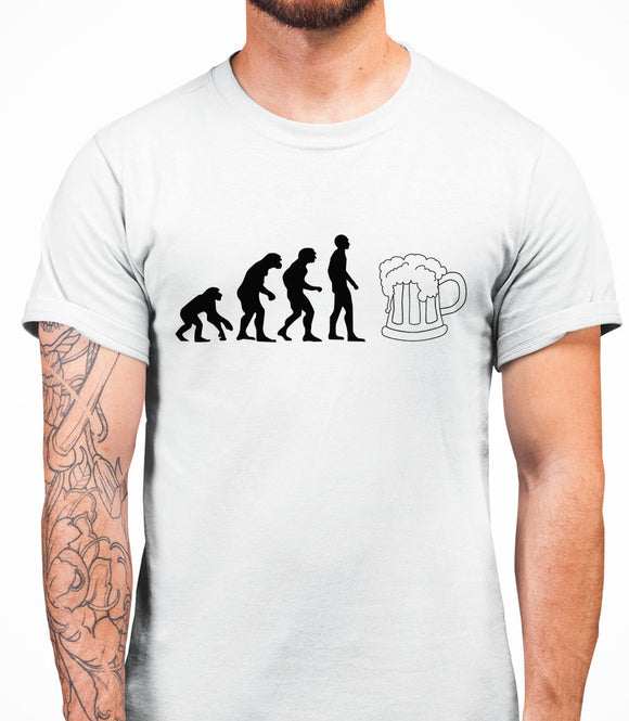 Evolution Beer Mens T-Shirt - White