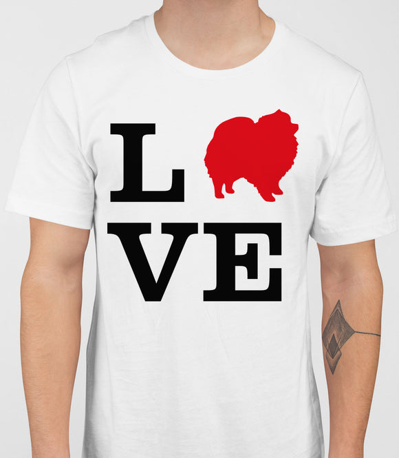 Love Pomeranian Dog Silhouette Mens T-Shirt - White
