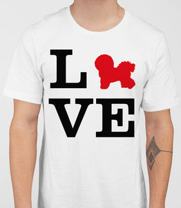 Love Bichons Frise Dog Silhouette Mens T-Shirt - White