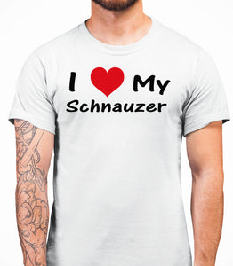 I Love My Schnauzer Mens T-Shirt - White