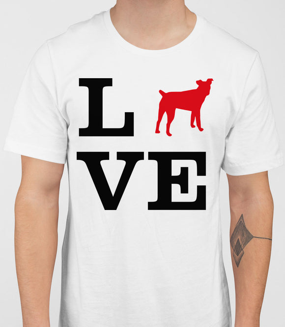 Love Jack Russell Terrier Dog Silhouette Mens T-Shirt - White