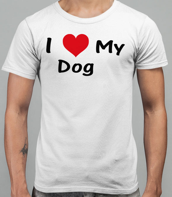 I Love My Dog Mens T-Shirt - White