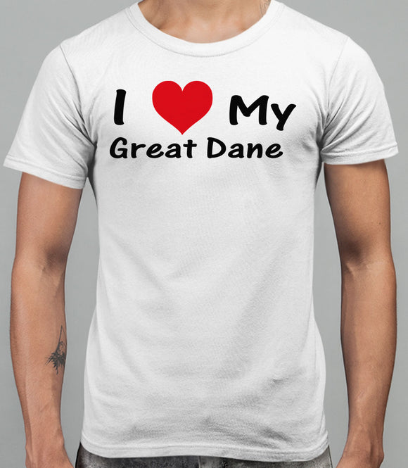 I Love My Great Dane Mens T-Shirt - White