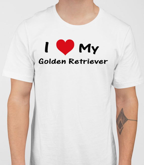 I Love My Golden Retriever Mens T-Shirt - White