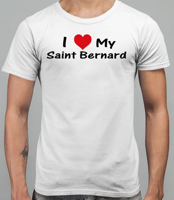I Love My Saint Bernard Mens T-Shirt - White