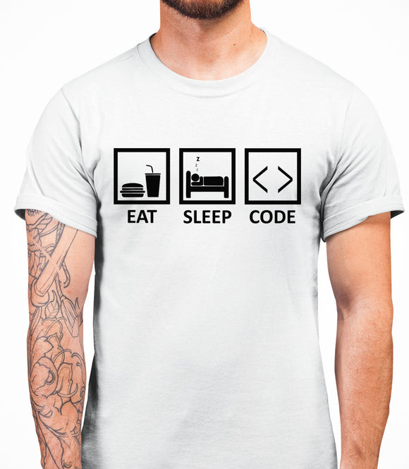 Eat Sleep Code Mens T-Shirt - White