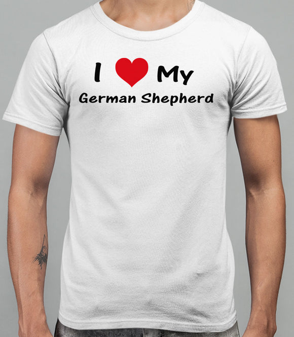 I Love My German Sheppard Mens T-Shirt - White