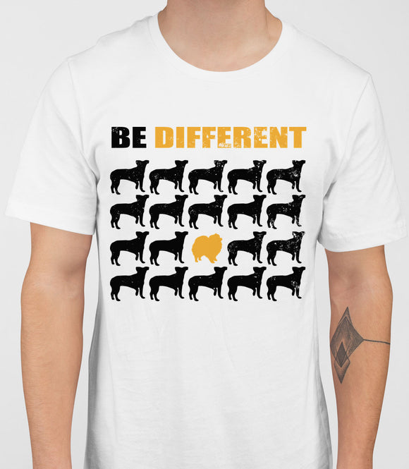 Be Different Pomeranian Dog  Mens T-Shirt - White