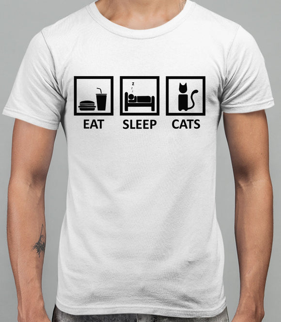 Eat Sleep Cats Mens T-Shirt - White
