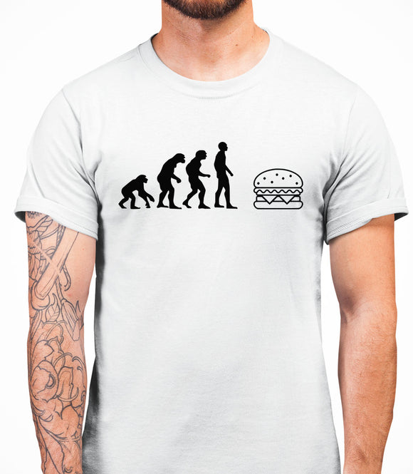 Evolution Hamburger Mens T-Shirt - White