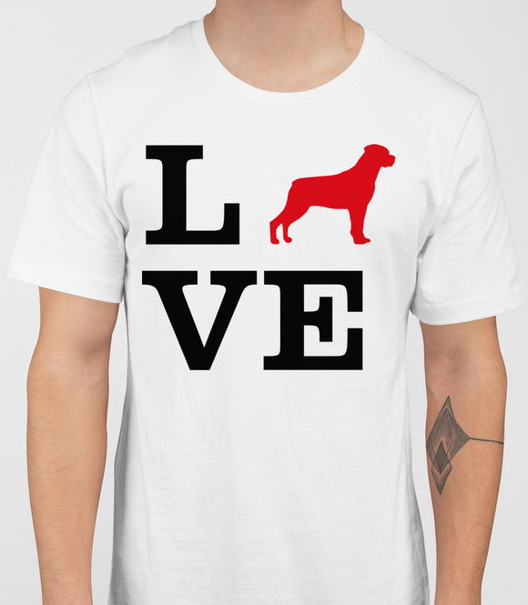 Love Rottweiler Dog Silhouette Mens T-Shirt - White