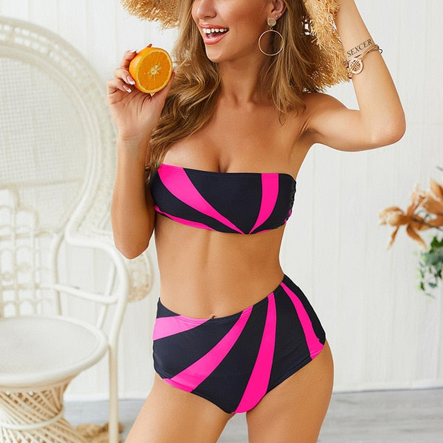 CHLOE™ Stripe High Waist Swimwear - GearMeeUp