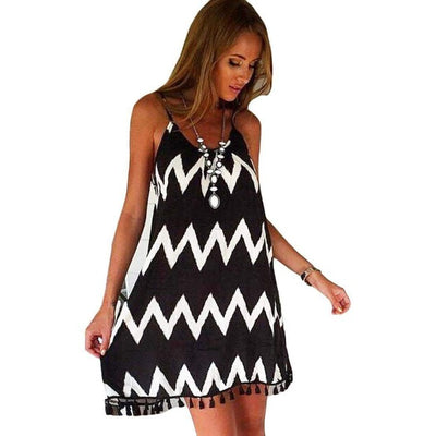 Geometric Printed Tassel Dress - GearMeeUp