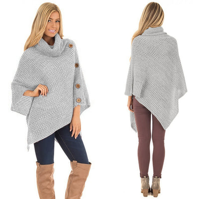 Elegant Knitted Turtleneck Cloak Sweater - GearMeeUp