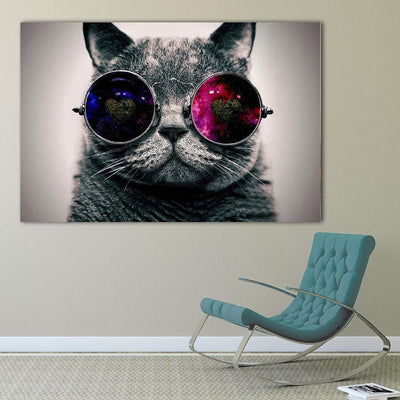Pop Art Creative Animals Canvas Oil Paintings Galaxy Glasses Cat Posters and Prints Wall Pictures for Bedroom Home Decoration - GearMeeUp