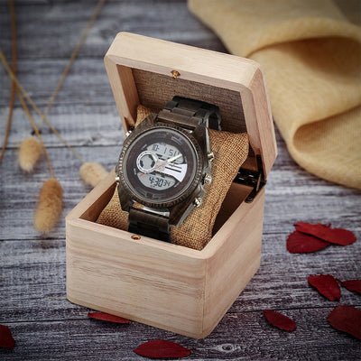 Antique Natural Wood Digital Men's Watch - GearMeeUp