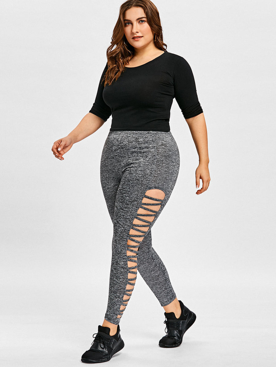 Plus size Hollow Out High Waist Fitness Leggings - GearMeeUp