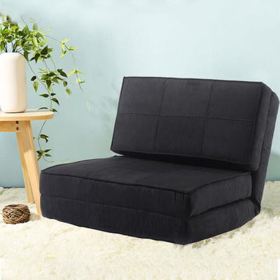 Suede Fold Down Chair Flip Out Lounger - GearMeeUp