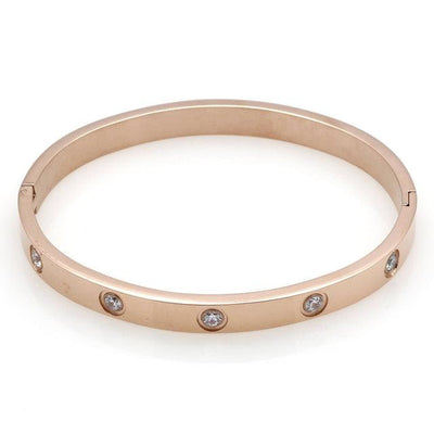 Trendy Crystal Stainless Steel Bangle - GearMeeUp