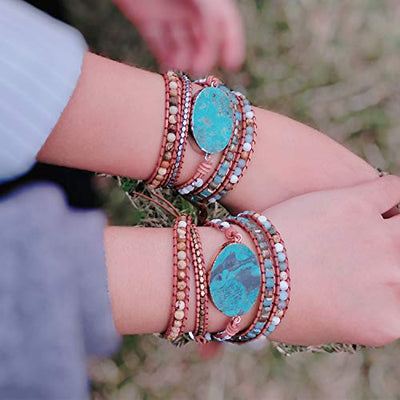 Handmade Leather Wrap Beaded Bracelet - GearMeeUp